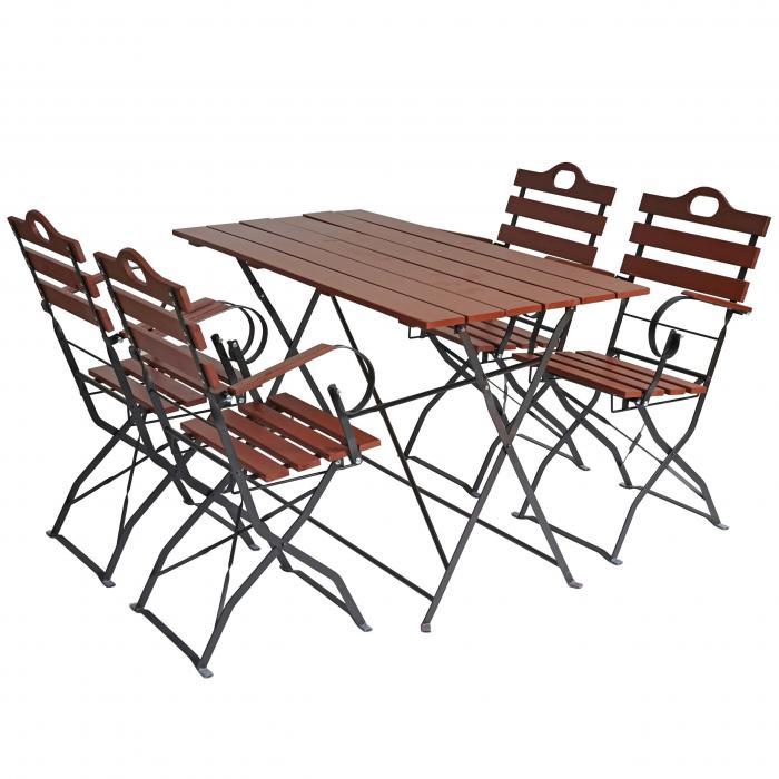 biergartentisch graz klapptisch gartentisch akazie lackiert 75x120x60cm braun. Black Bedroom Furniture Sets. Home Design Ideas
