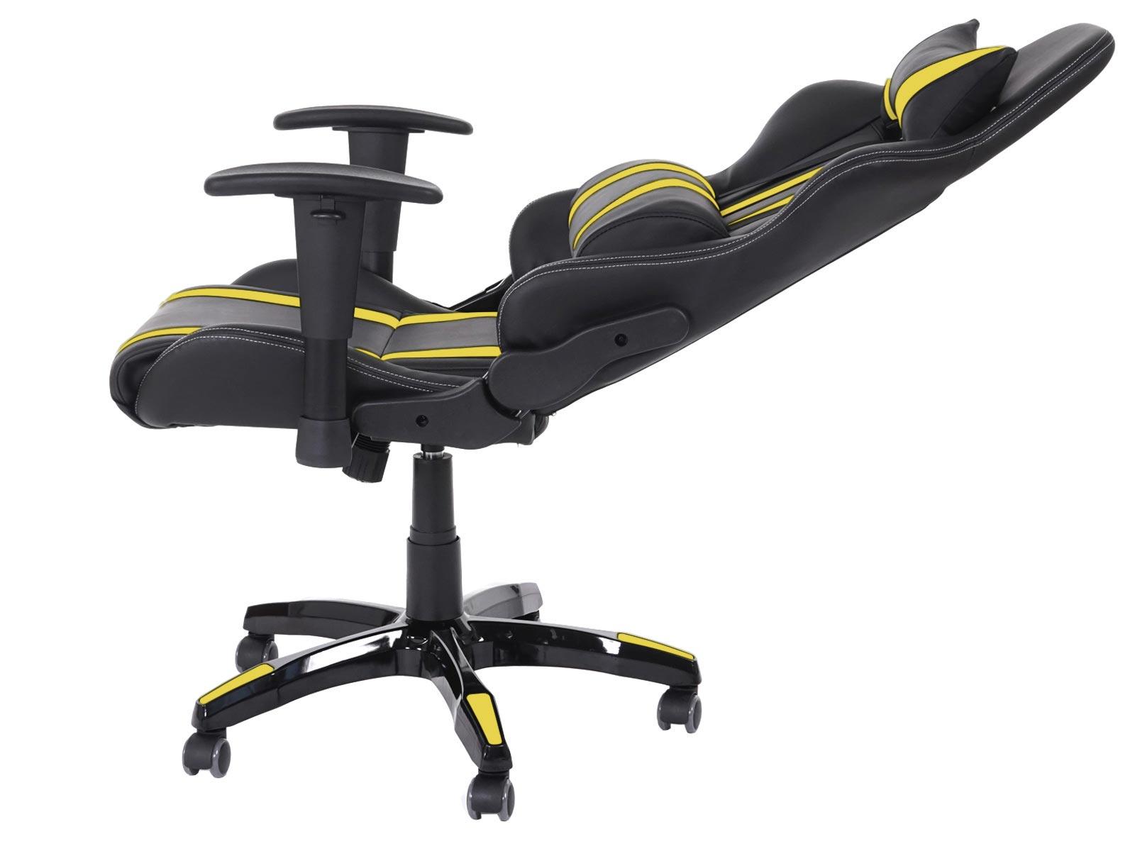 fauteuil chaise de bureau t414 xxl charge 150kg similicuir noir jaune ebay. Black Bedroom Furniture Sets. Home Design Ideas
