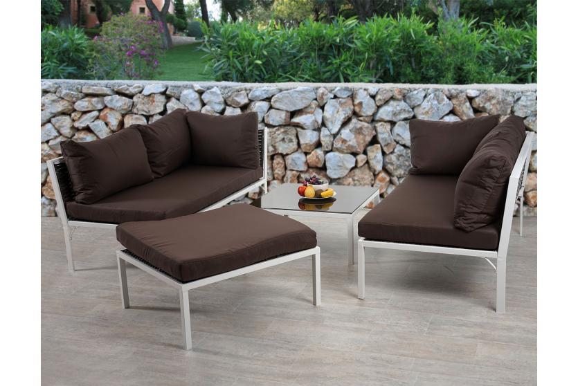 poly rattan sofa garnitur delphi sitzgruppe lounge set alu set 3 kissen braun. Black Bedroom Furniture Sets. Home Design Ideas