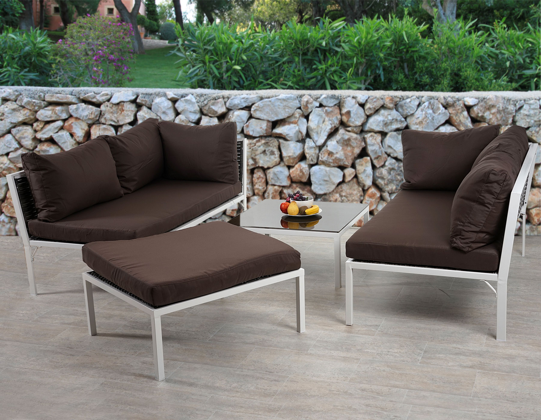 poly rattan sofa garnitur delphi sitzgruppe lounge set alu set 3 kissen braun. Black Bedroom Furniture Sets. Home Design Ideas
