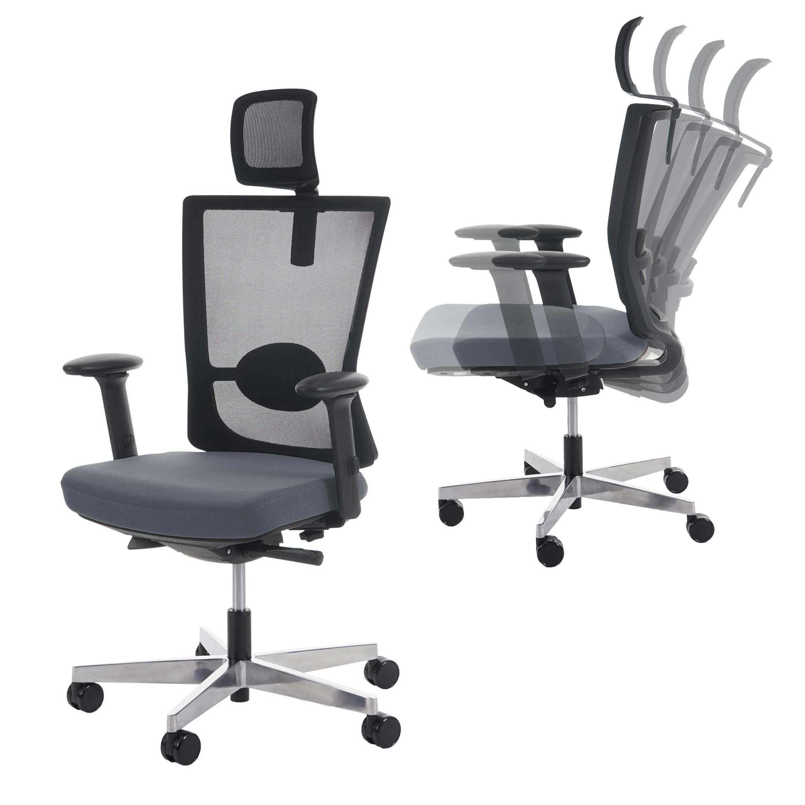 profi b rostuhl belfast schreibtischstuhl drehstuhl ergonomisch grau mit kopfst tze. Black Bedroom Furniture Sets. Home Design Ideas