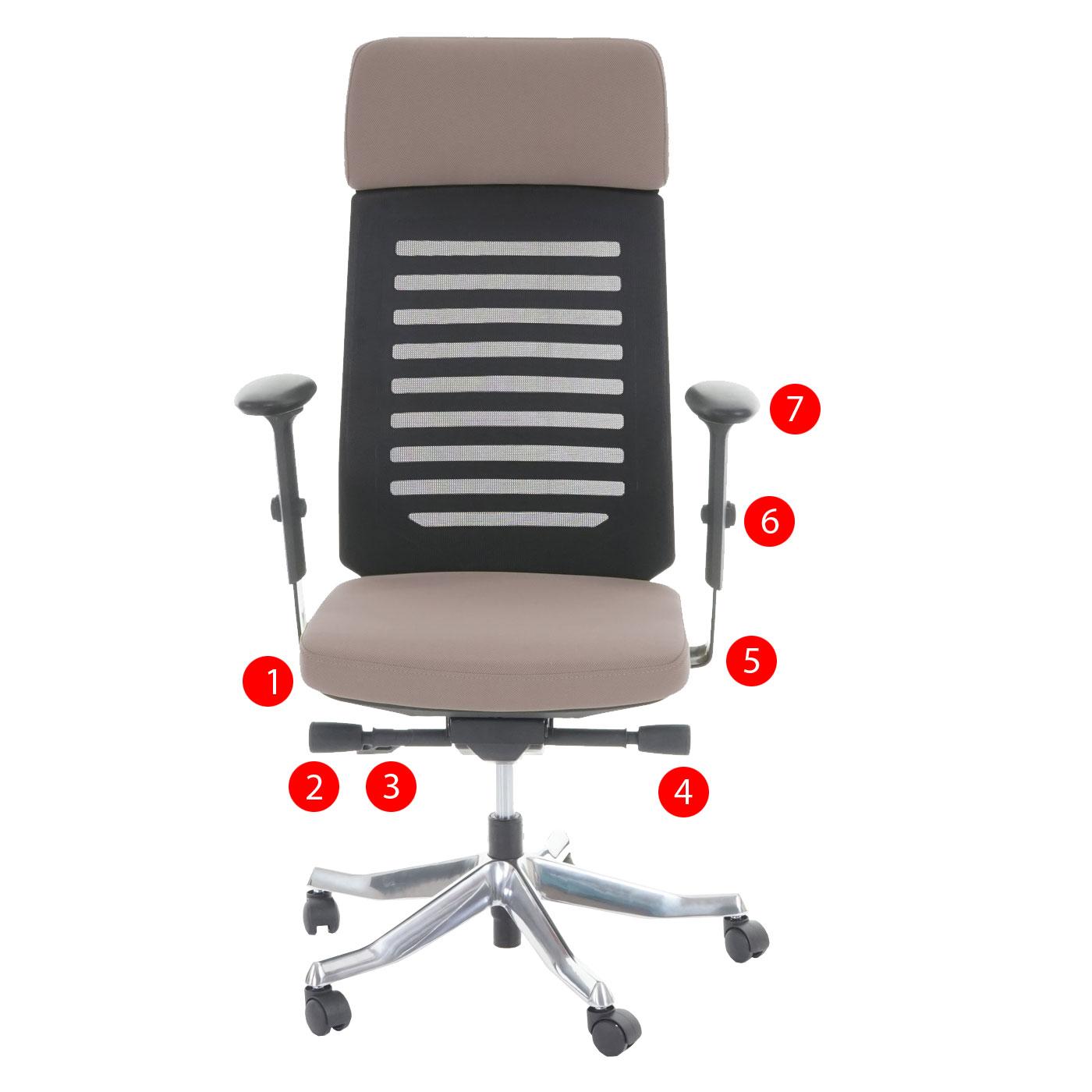 b rostuhl merryfair brisbane polster netz mit kopfst tze ergonomisch taupe ebay. Black Bedroom Furniture Sets. Home Design Ideas