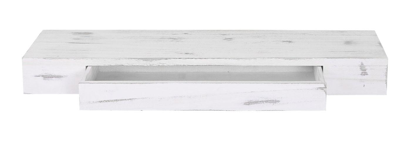 Wandregal, Hängeregal Regal, 80cm Schublade - weiss, shabby