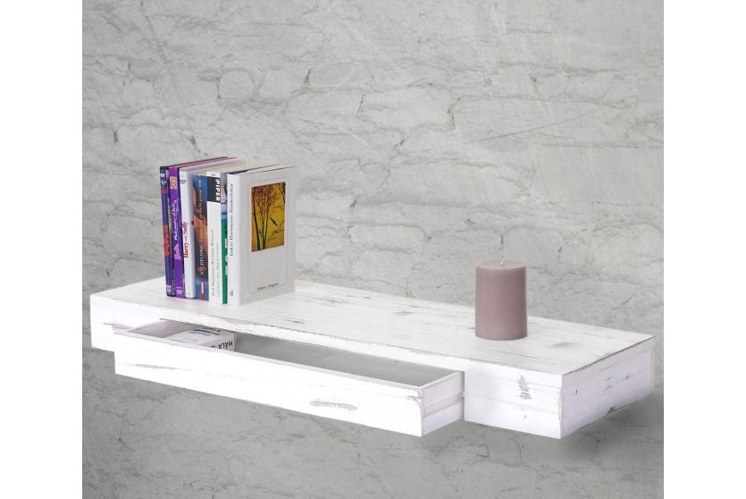 wandregal oise h ngeregal regal 80cm schublade wei shabby. Black Bedroom Furniture Sets. Home Design Ideas