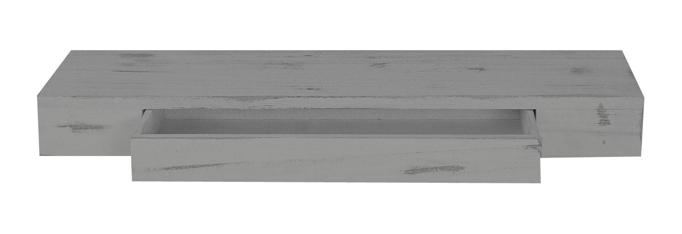 Wandregal mit schublade grau  Wandregal Oise, Hängeregal Regal, 80cm Schublade ~ grau, shabby