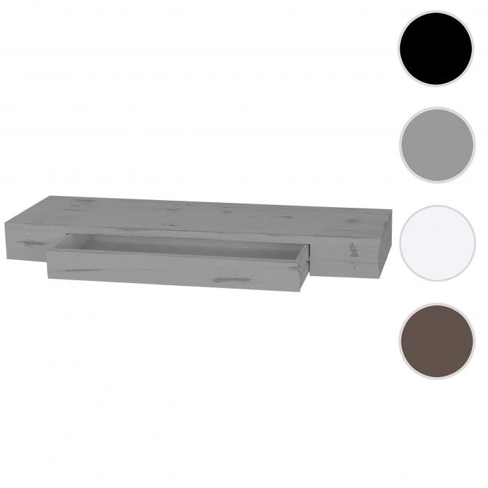 Wandregal mit schublade grau  Oise, Hängeregal Regal, 80cm Schublade ~ grau, shabby