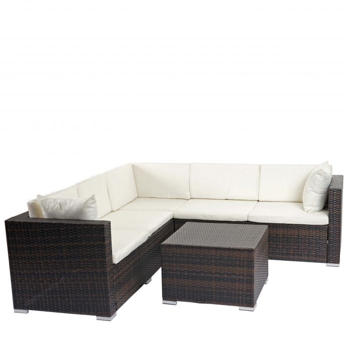 Rattan ecksofa lounge  Rattan Sofa-Garnitur ROM Basic, Sitzgruppe Lounge-Set, Alu ~ braun ...