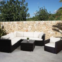 Poly-Rattan-Garnitur ROM Basic, Sofa Sessel Lounge-Set, Alu ~ braun-meliert, Kissen creme