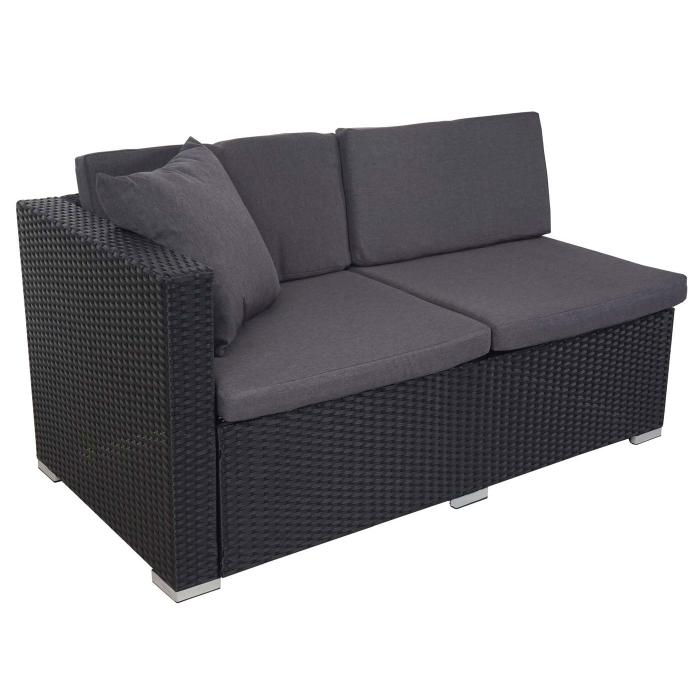 poly rattan sofa garnitur rom basic sitzgruppe lounge set alu anthrazit kissen anthrazit. Black Bedroom Furniture Sets. Home Design Ideas