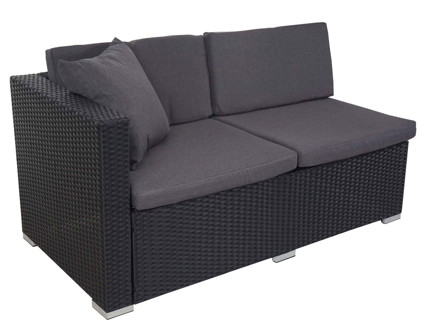 poly rattan sofa garnitur rom basic sitzgruppe lounge set stahl anthrazit kissen anthrazit. Black Bedroom Furniture Sets. Home Design Ideas
