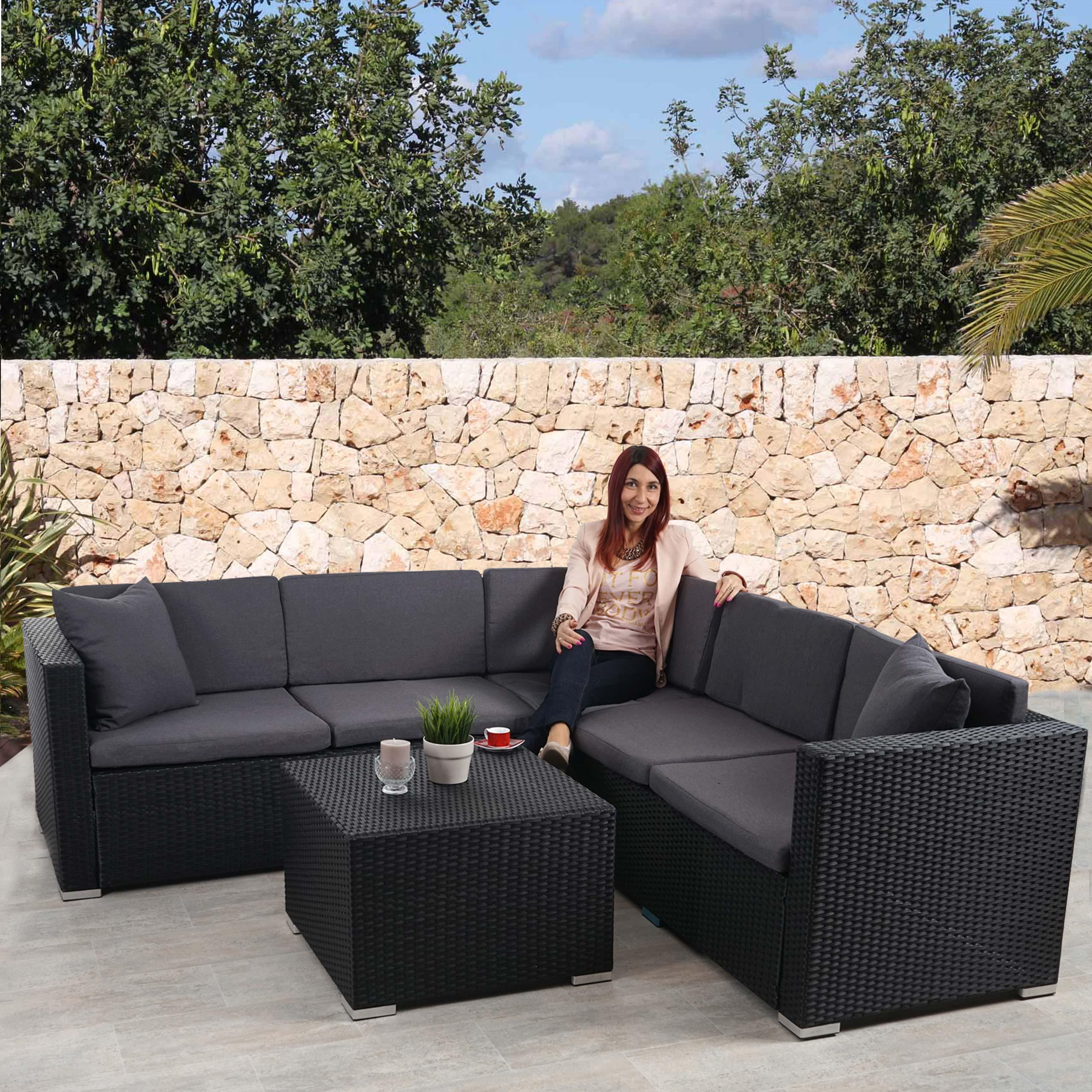 poly rattan sofa garnitur rom basic sitzgruppe lounge set alu anthrazit kissen anthrazit. Black Bedroom Furniture Sets. Home Design Ideas