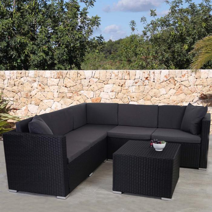 Poly-Rattan Sofa-Garnitur ROM Basic, Sitzgruppe Lounge-Set, Alu ~ anthrazit, Kissen anthrazit