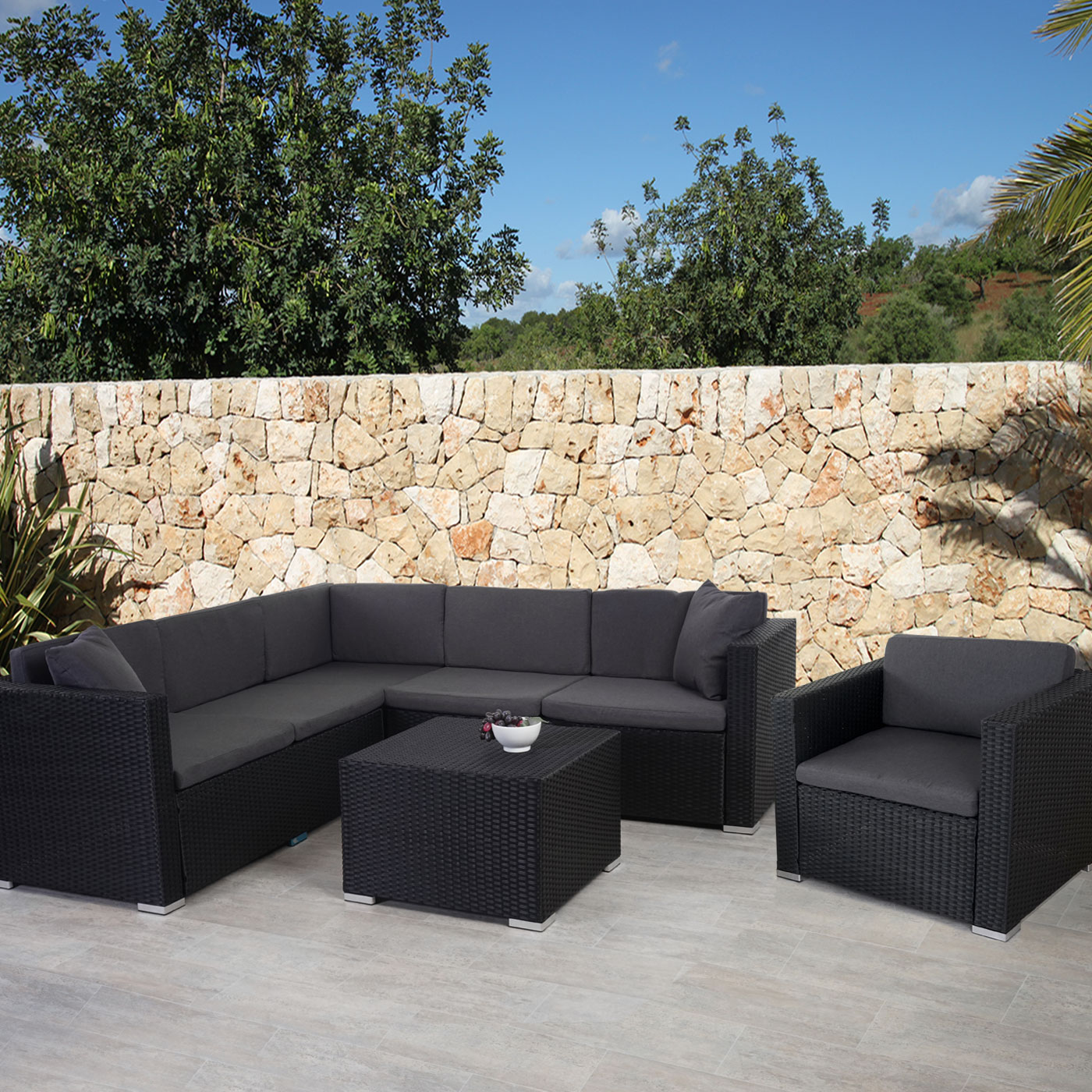 Rattan lounge anthrazit  Rattan-Garnitur ROM Basic, Sofa Sessel Lounge-Set, Alu ~ anthrazit ...
