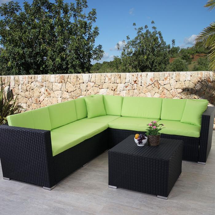 Rattan set  Rattan Sofa-Garnitur ROM Basic, Sitzgruppe Lounge-Set, Alu ...