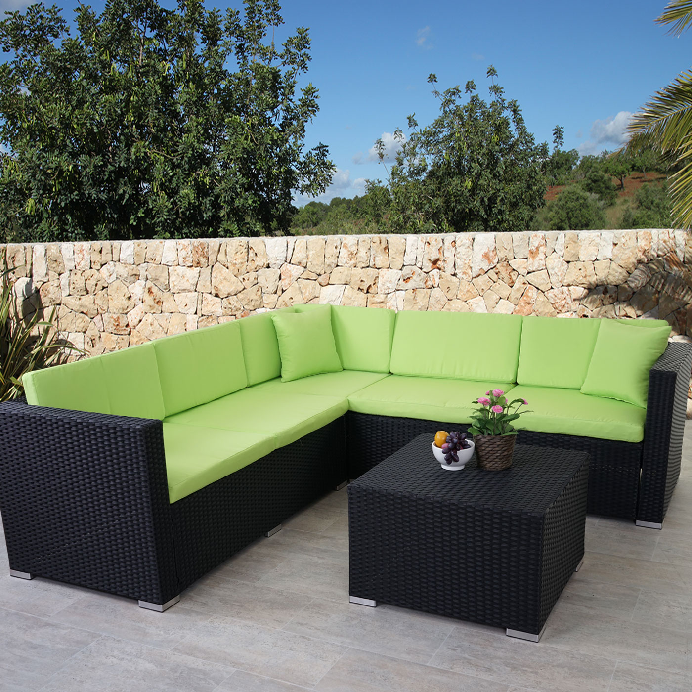 Rattan sofa outdoor for Sofa exterior