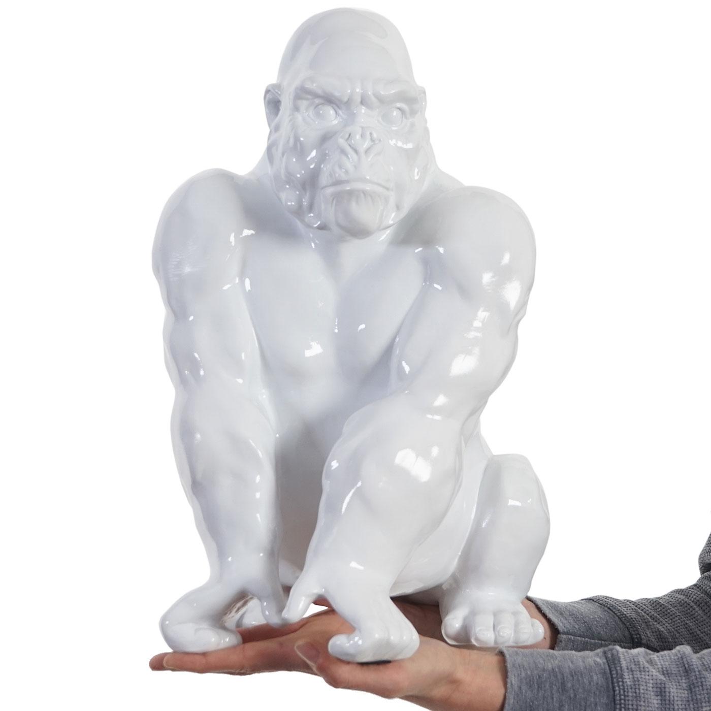 Deko Figuren figur gorilla 40cm polyresin skulptur affe in outdoor weiß