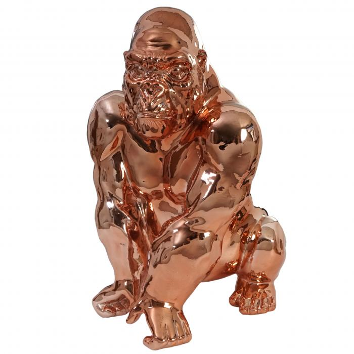 deko figur gorilla 40cm polyresin skulptur affe in outdoor kupfer. Black Bedroom Furniture Sets. Home Design Ideas