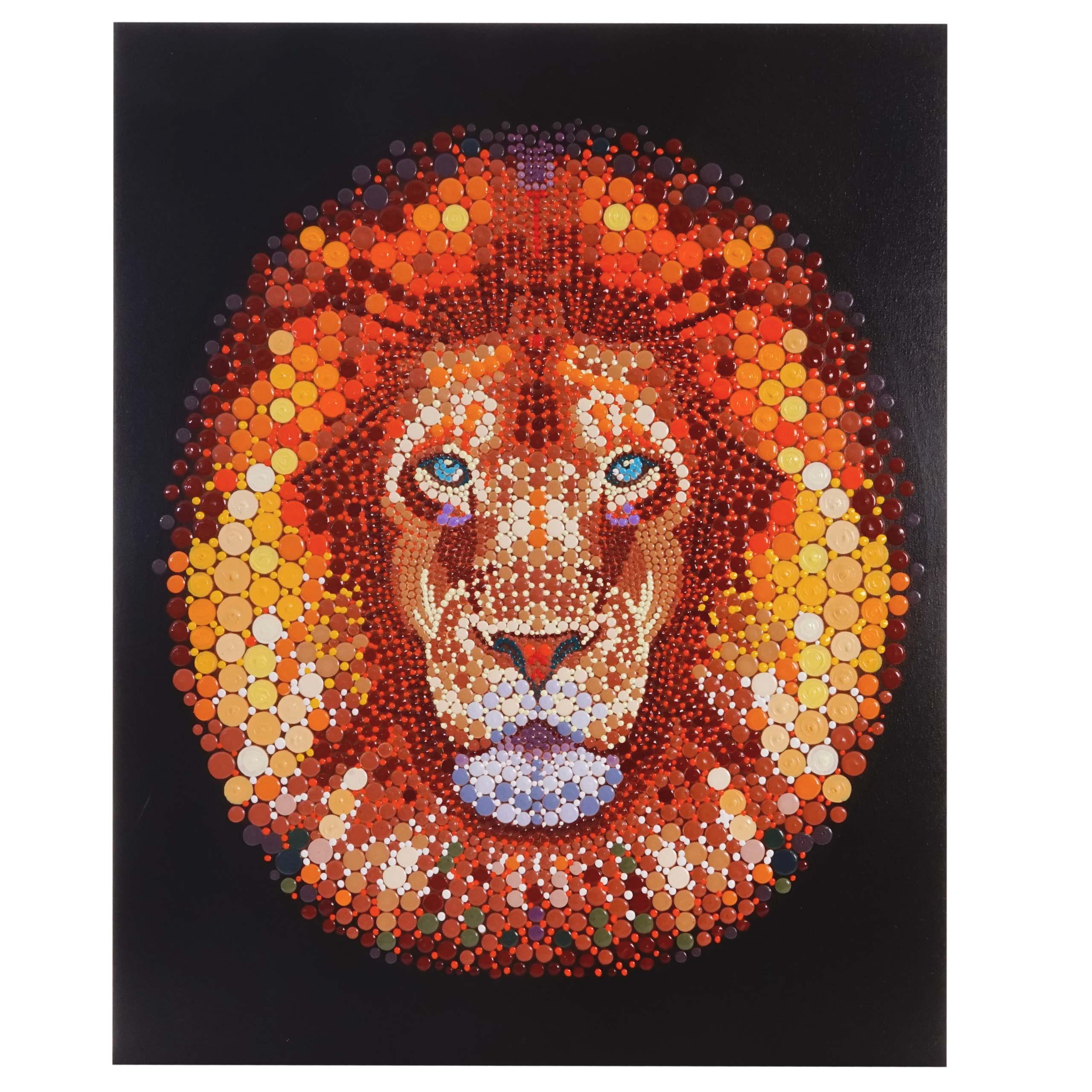 Mendler Ölgemälde Löwe, 100% handgemaltes Wandbild Gemälde XL, 100x80cm ~ Variantenangebot 44720