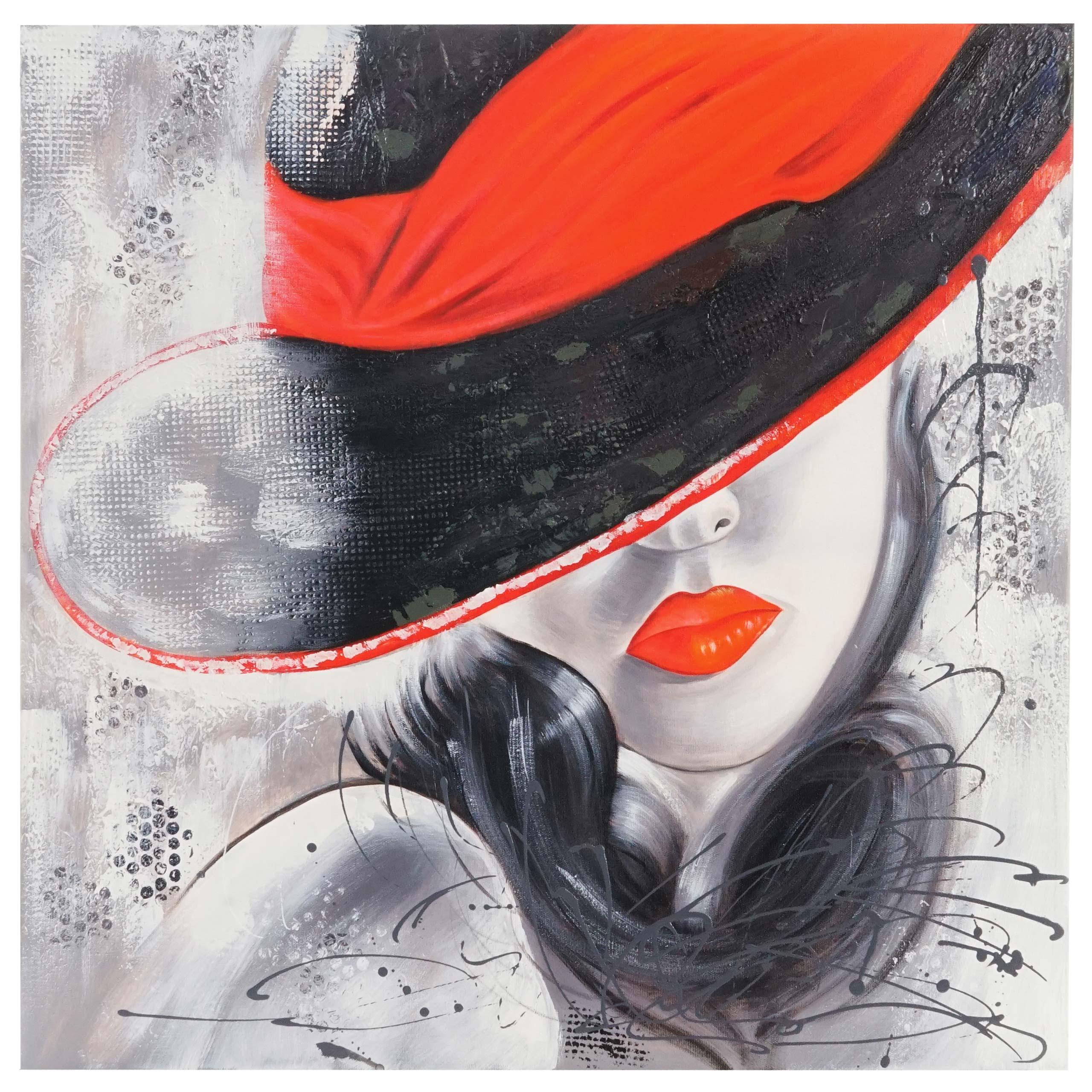 Mendler Ölgemälde Lady, 100% handgemaltes Wandbild Gemälde XL, 80x80cm ~ Variantenangebot 44723