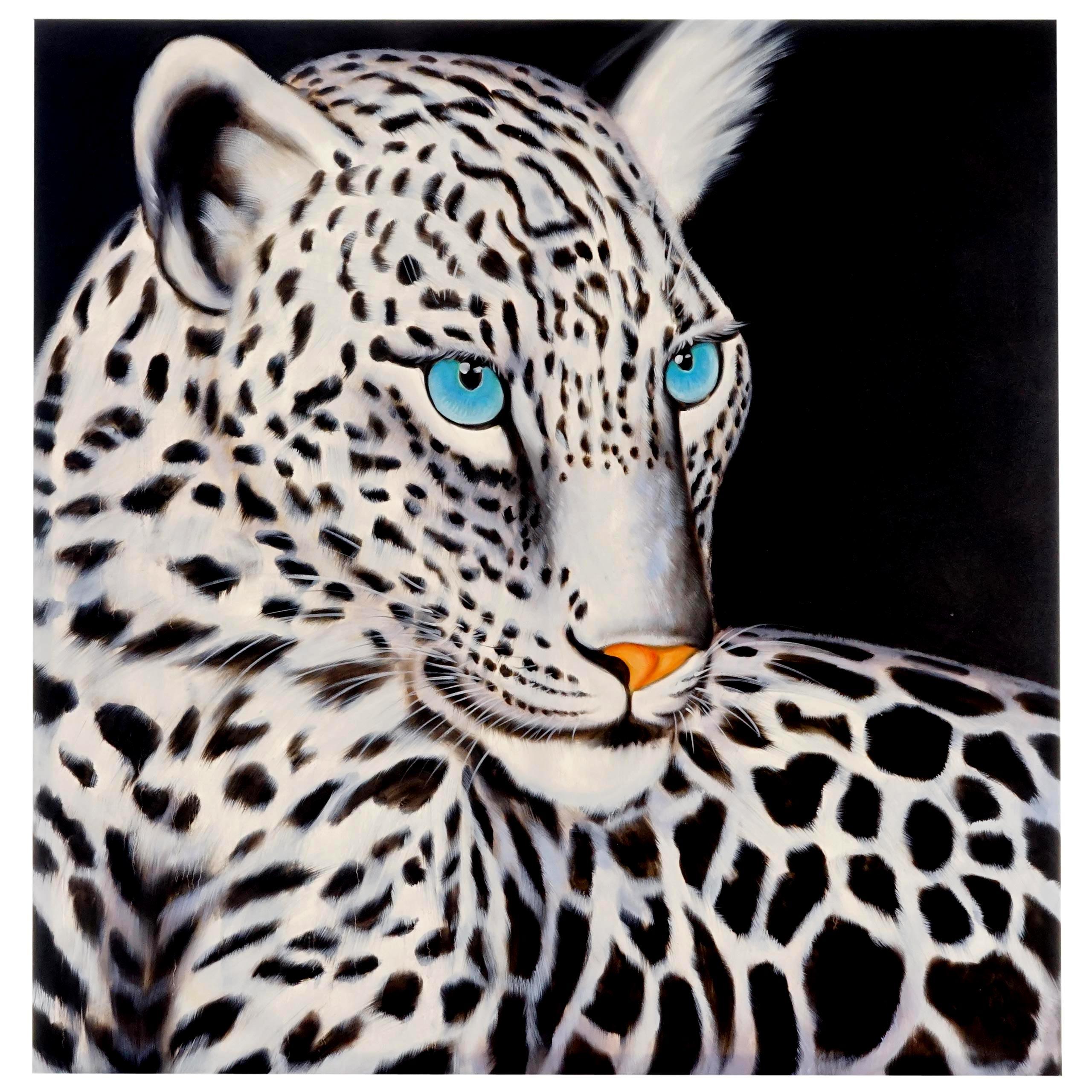 Mendler Wandbild Weißer Leopard, 100% handgemaltes Ölgemälde Gemälde XL ~ Variantenangebot 44724