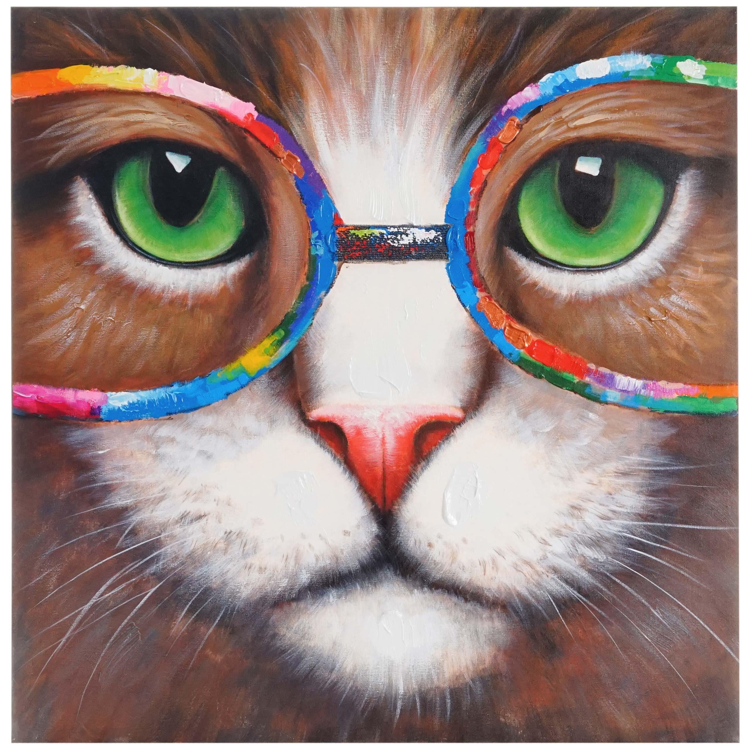 Mendler Ölgemälde Hipster Katze, 100% handgemaltes Wandbild 3D-Bild Gemälde XL, 90x90cm ~ Variantenangebot 44725