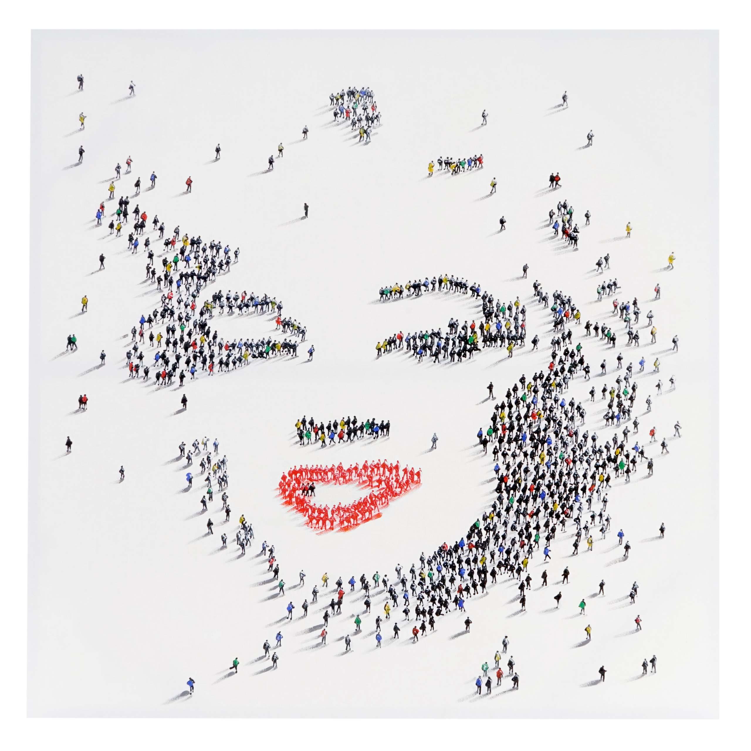 Mendler Ölgemälde Marilyn + Menschen, 100% handgemaltes Wandbild Gemälde XL, 100x100cm ~ Variantenangebot 44728