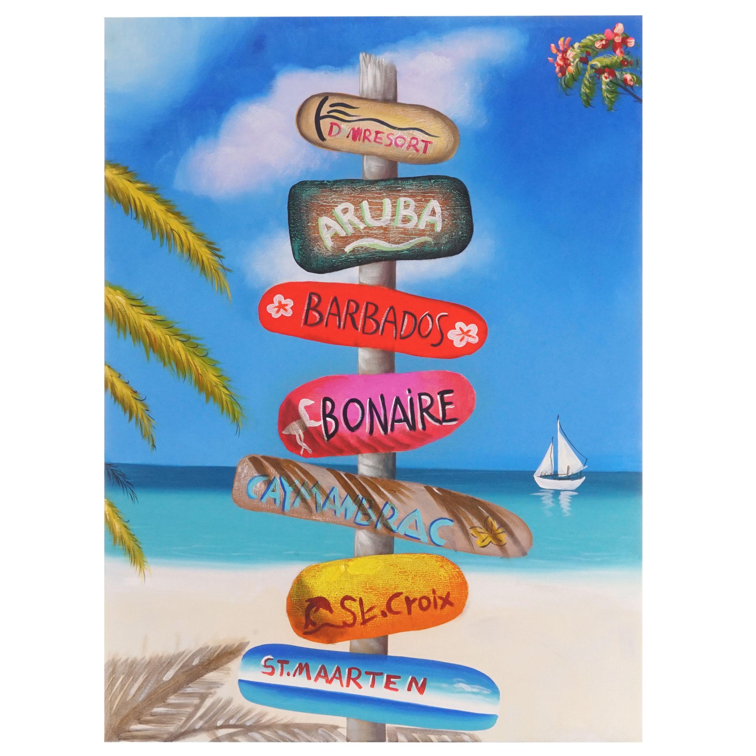 Mendler Ölgemälde Straßenschild, 100% handgemaltes Wandbild Gemälde XL, 100x75cm ~ Variantenangebot 44730