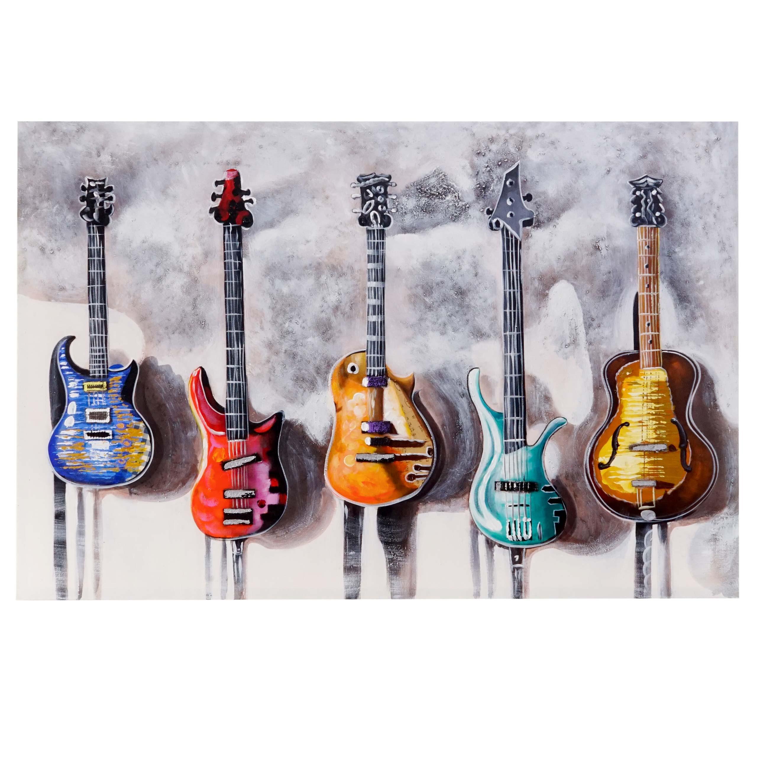 Mendler Ölgemälde Gitarren, 100% handgemaltes Wandbild 3D-Bild Gemälde XL, 120x80cm ~ Variantenangebot 44731