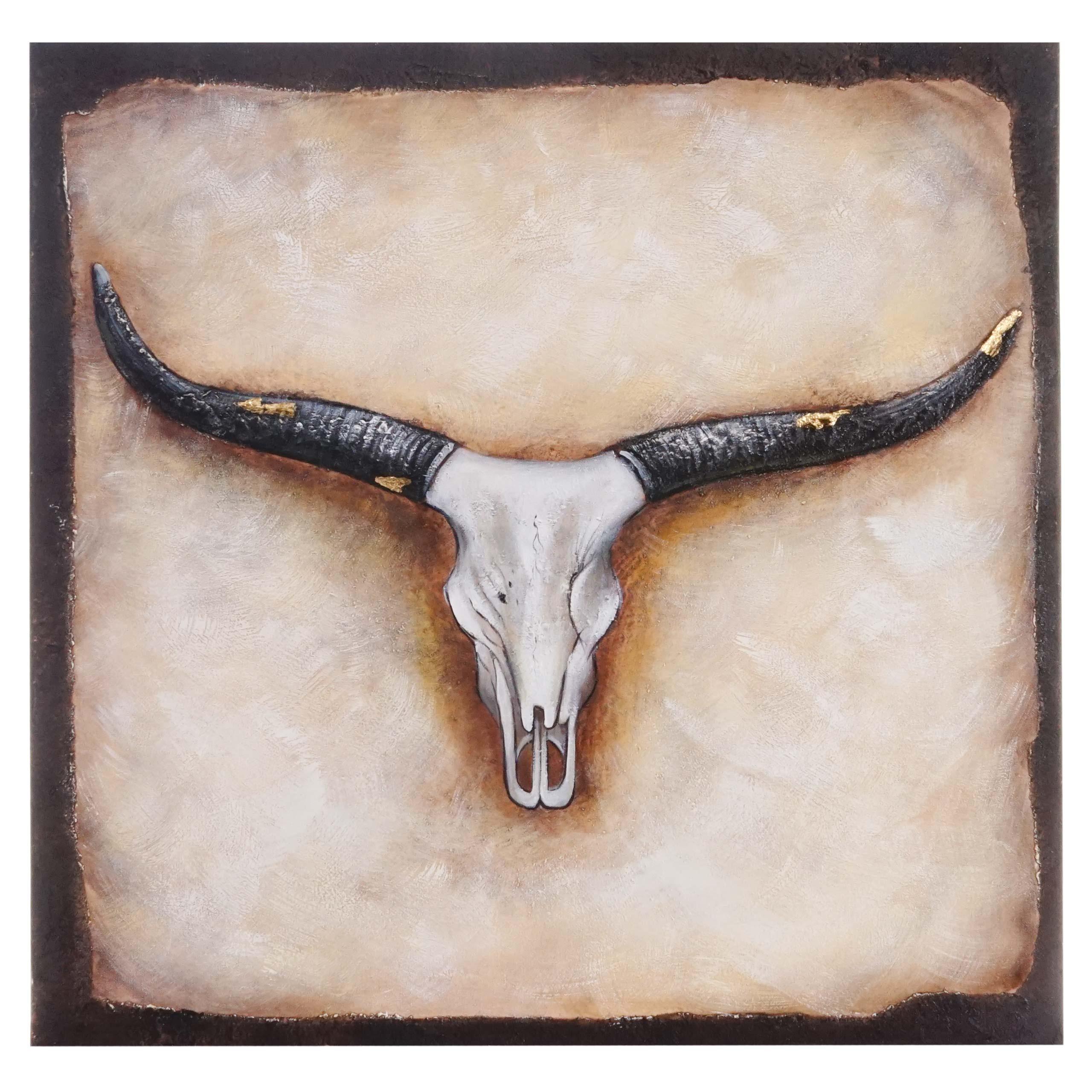 Mendler Ölgemälde Stier, 100% handgemaltes Wandbild Gemälde XL, 100x100cm ~ Variantenangebot 44733