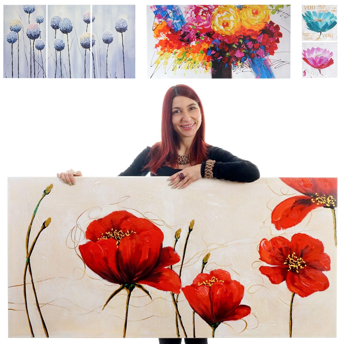 Dipinti a mano pittura ad olio su tela collezione fiori ebay for Dipinti ad olio fiori