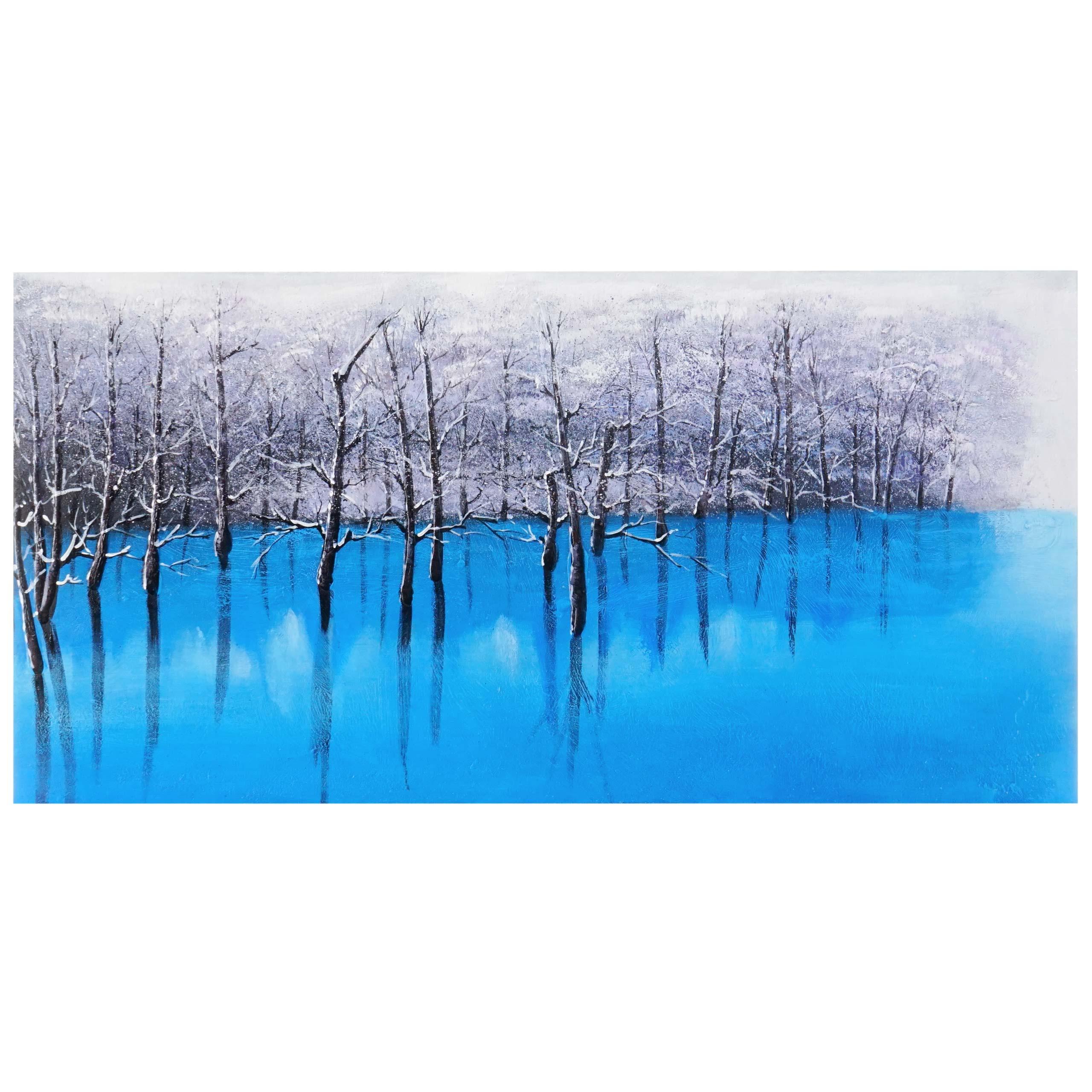 Mendler Ölgemälde Blauer See, 100% handgemaltes Wandbild Gemälde XL, 140x70cm ~ Variantenangebot 44736