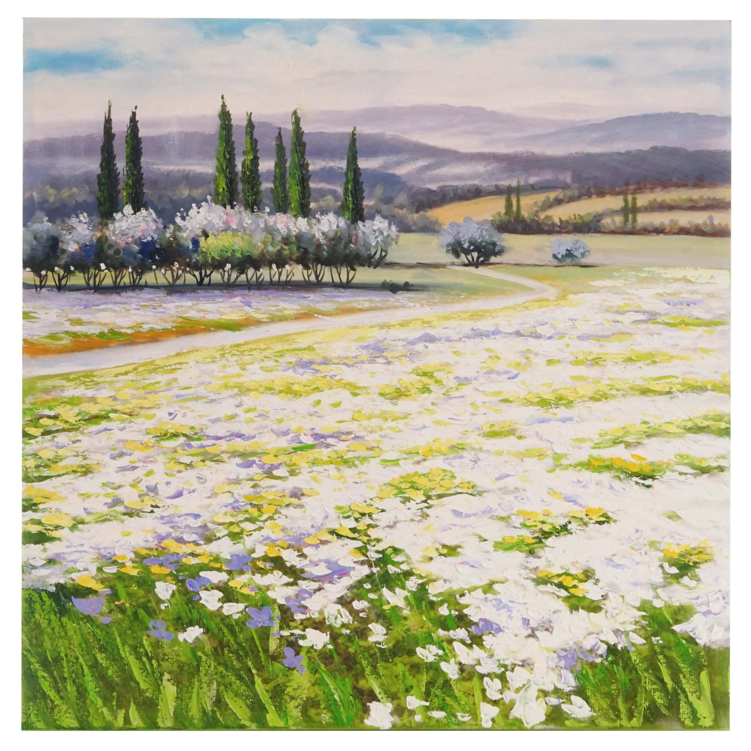 Mendler Ölgemälde Blumenlandschaft, 100% handgemaltes Wandbild Gemälde XL, 80x80cm ~ Variantenangebot 44739