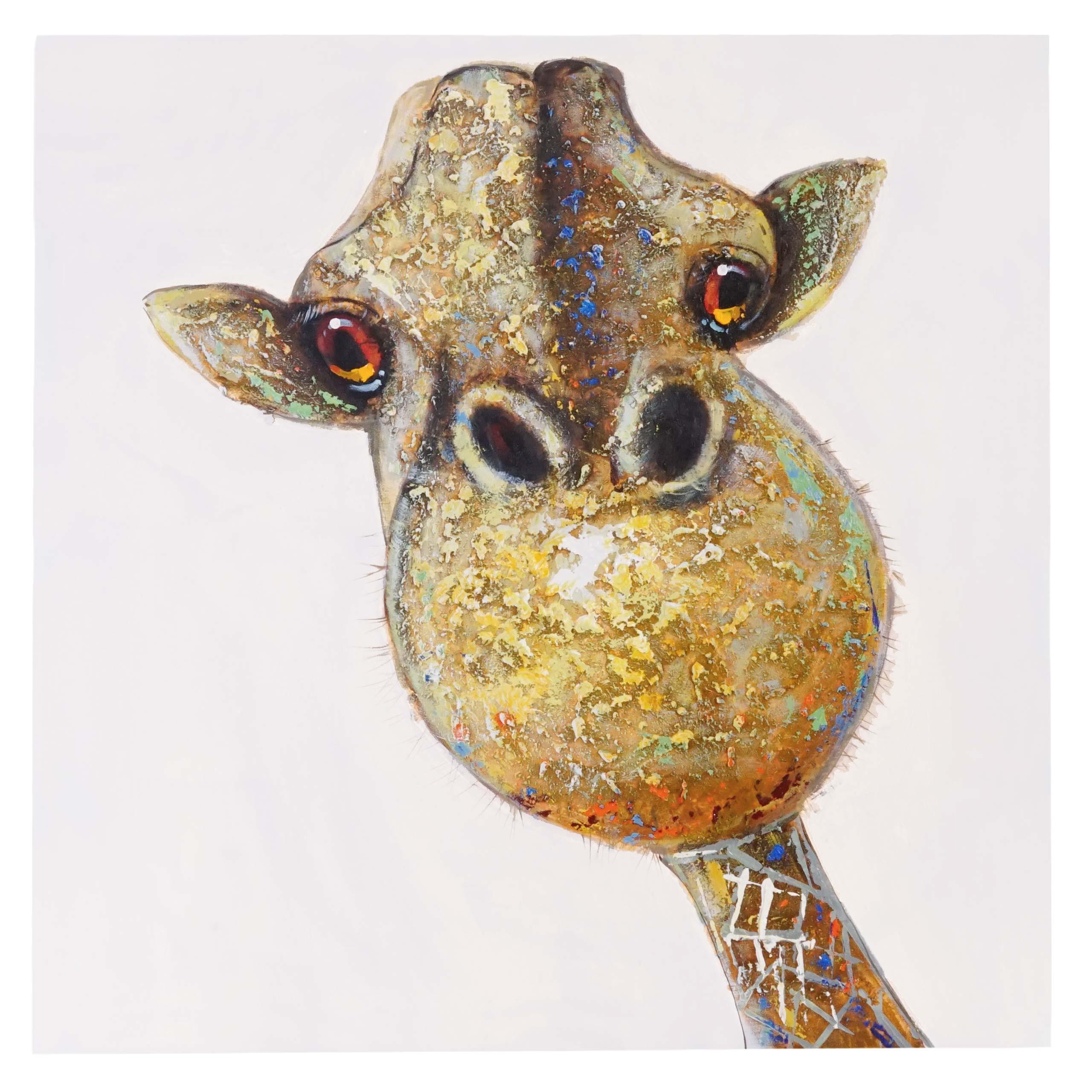 Mendler Ölgemälde Giraffe, 100% handgemaltes Wandbild Gemälde XL, 90x90cm ~ Variantenangebot 44741