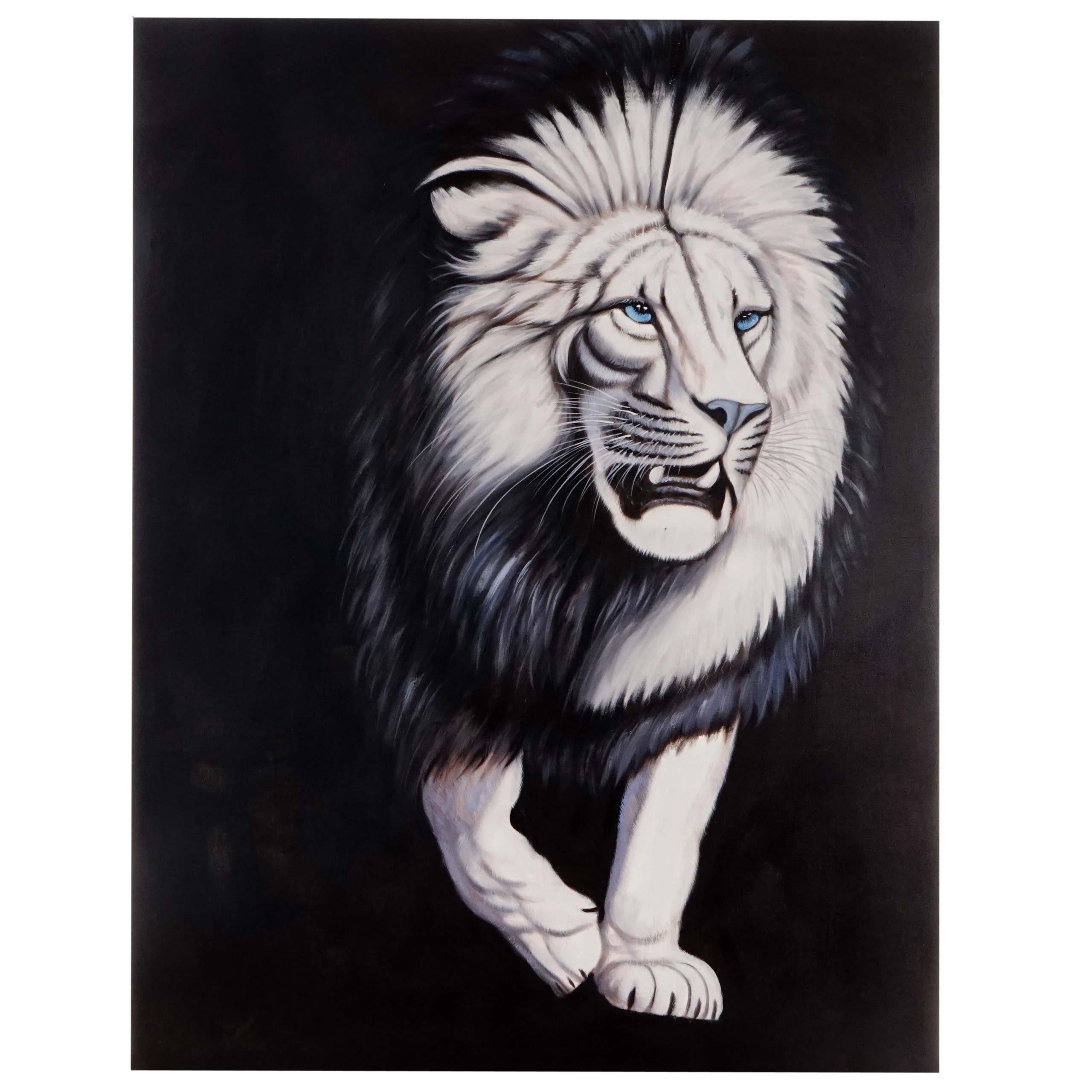Mendler Ölgemälde Weißer Löwe, 100% handgemaltes Wandbild Gemälde XL, 120x90cm ~ Variantenangebot 44743