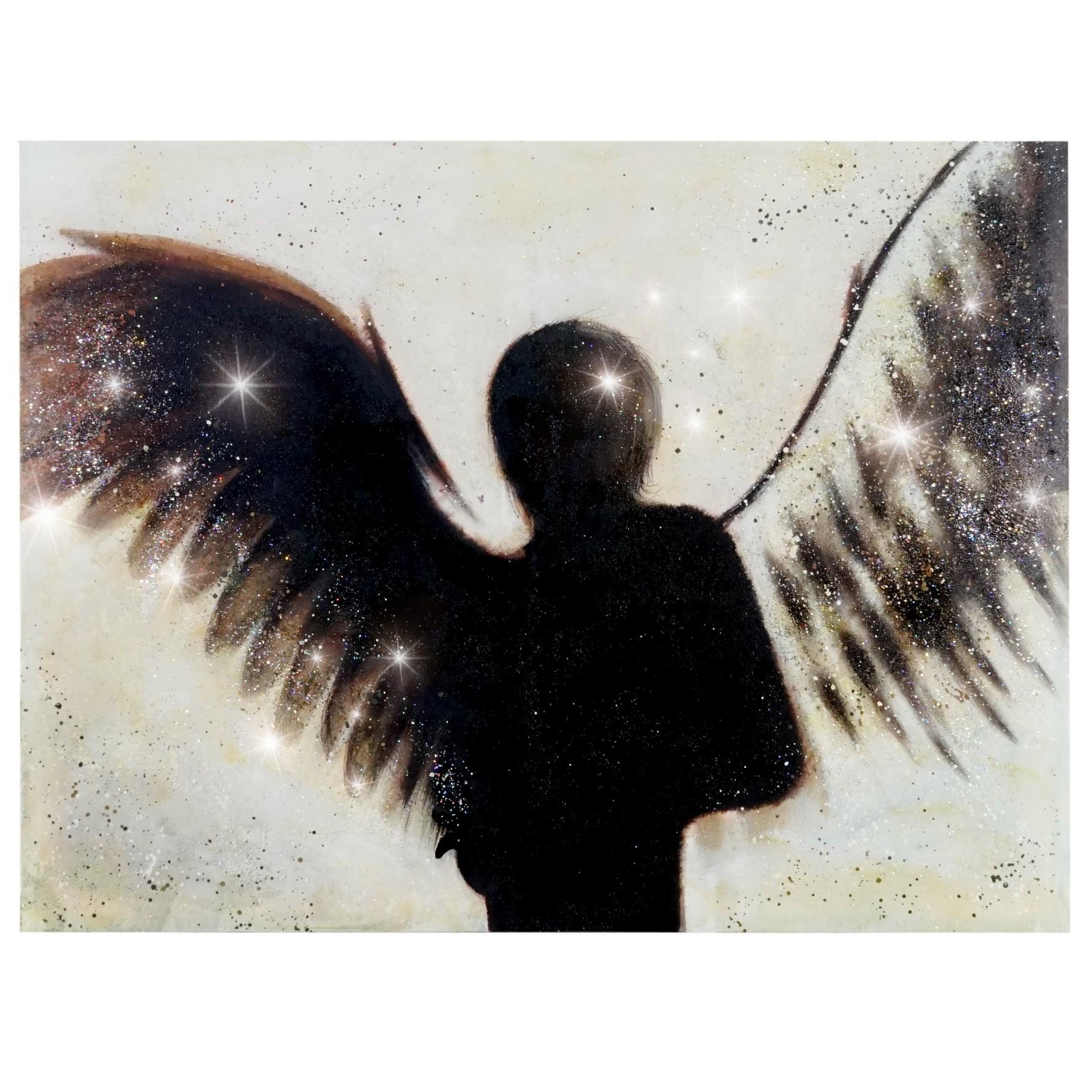 Mendler Ölgemälde Engel, 100% handgemaltes Wandbild Gemälde XL, 120x90cm ~ Variantenangebot 44746