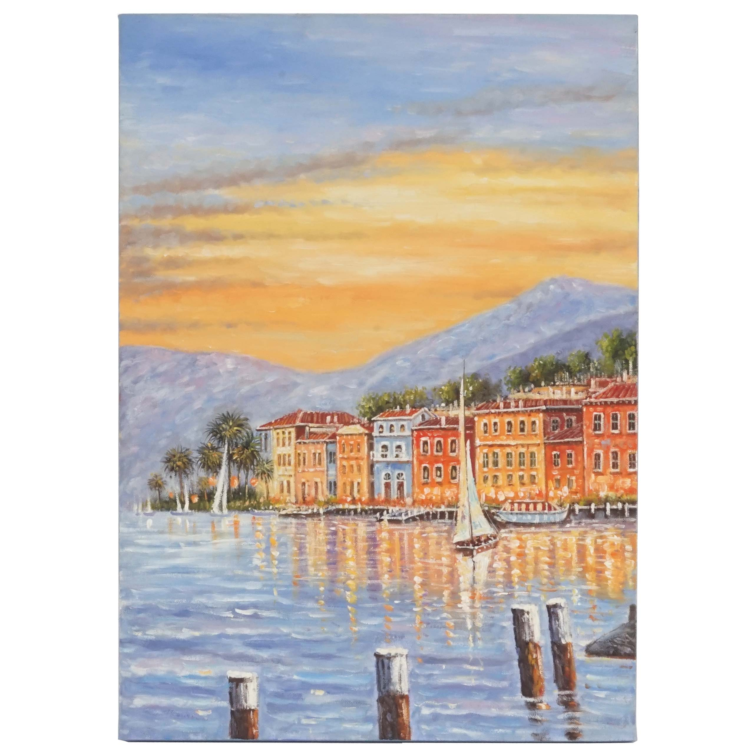 Mendler Ölgemälde Küste, 100% handgemaltes Wandbild Gemälde XL, 70x50cm ~ Variantenangebot 44747