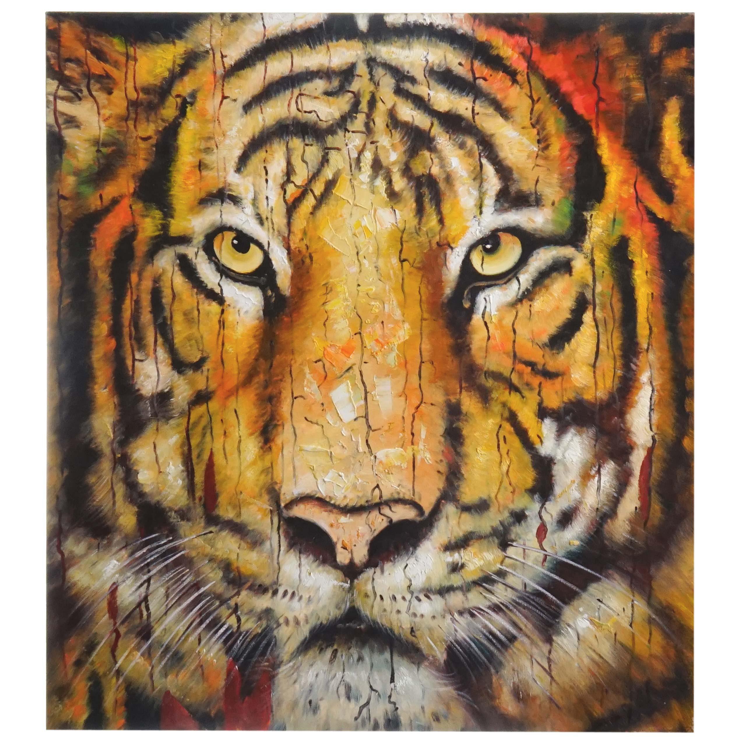 Mendler Ölgemälde Tiger, 100% handgemaltes Wandbild Gemälde XL, 100x90cm ~ Variantenangebot 44748