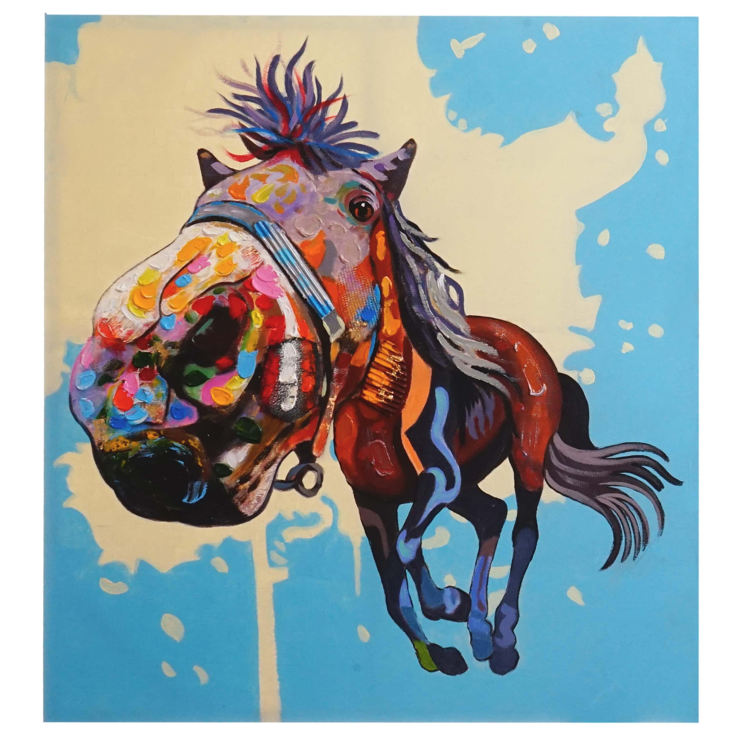Mendler Ölgemälde Pferd, 100% handgemaltes Wandbild 3D-Bild Gemälde XL, 100x90cm ~ Variantenangebot 44749