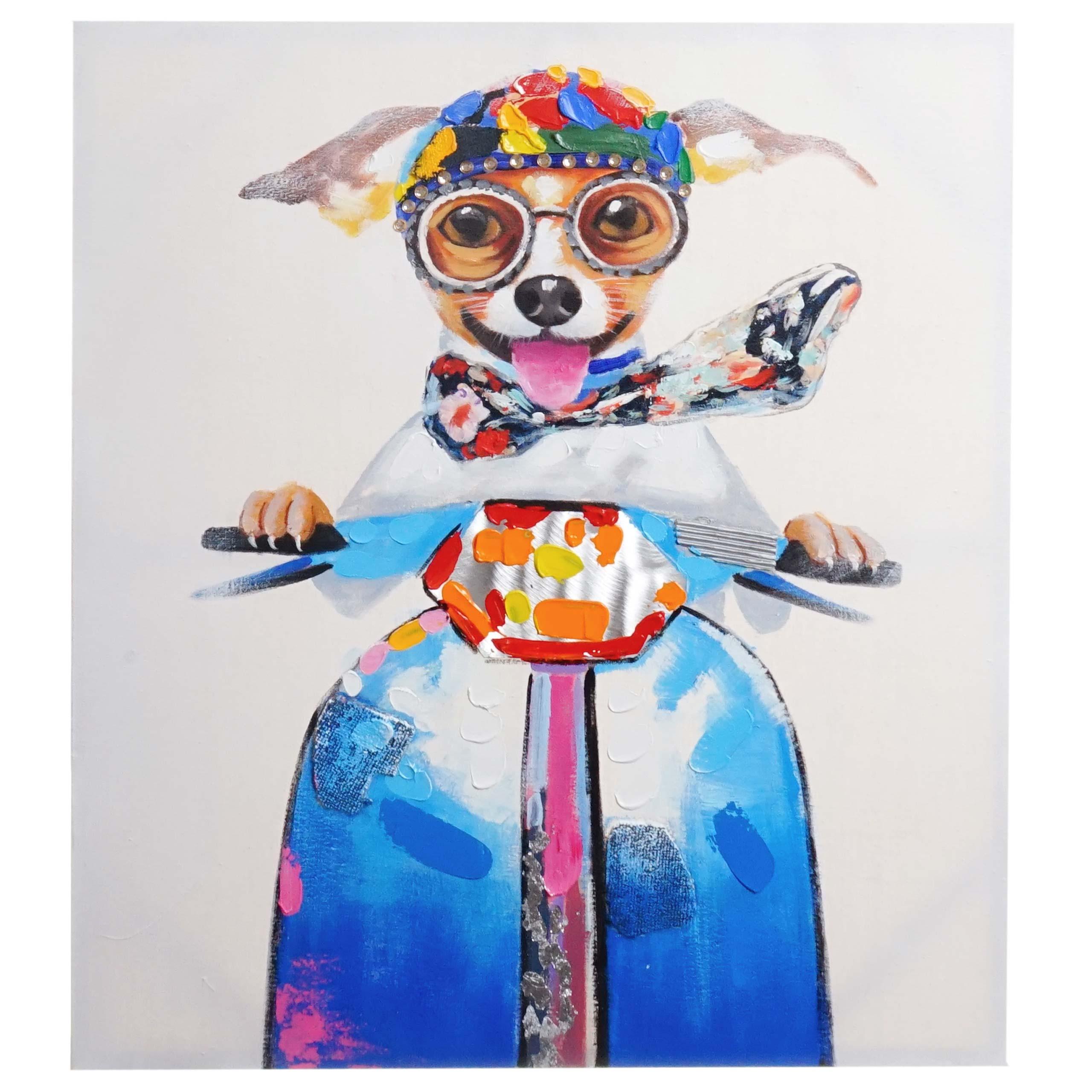 Mendler Ölgemälde Hund, 100% handgemaltes Wandbild 3D-Bild Gemälde XL, 100x90cm ~ Variantenangebot 44750
