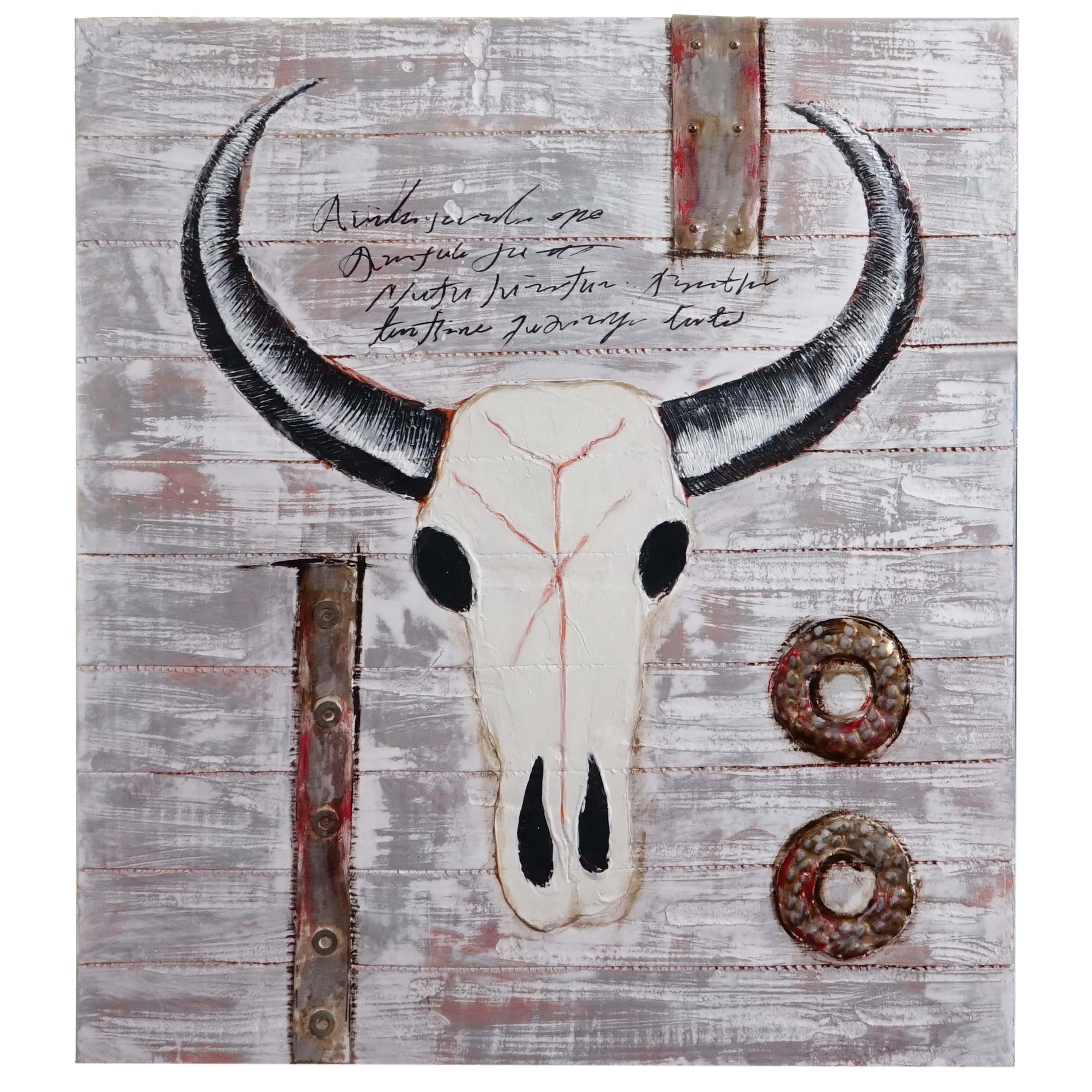 Mendler Ölgemälde Stier, 100% handgemaltes Wandbild 3D-Bild Gemälde XL, 100x90cm ~ Variantenangebot 44751