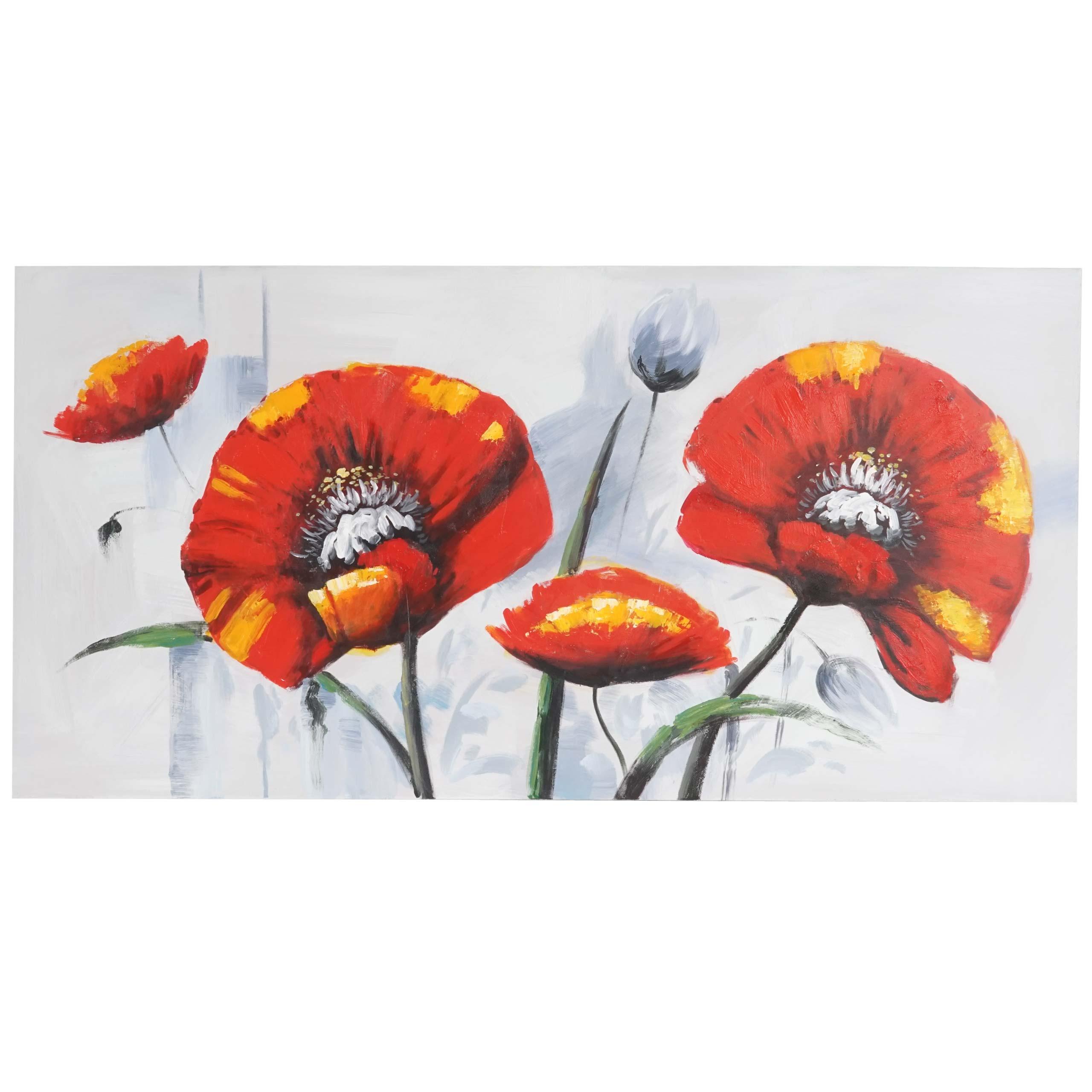 Mendler Ölgemälde Roter Mohn, 100% handgemaltes Wandbild Gemälde XL, 140x70cm ~ Variantenangebot 44762