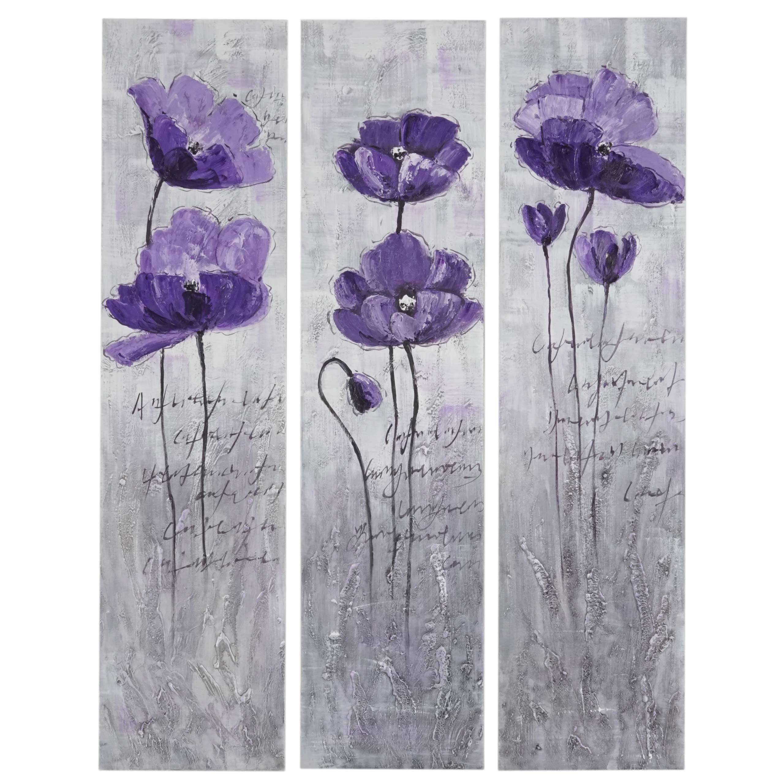 Mendler Ölgemälde Lila Blumen, 100% handgemaltes Wandbild Gemälde XL, 120x90cm ~ Variantenangebot 44767