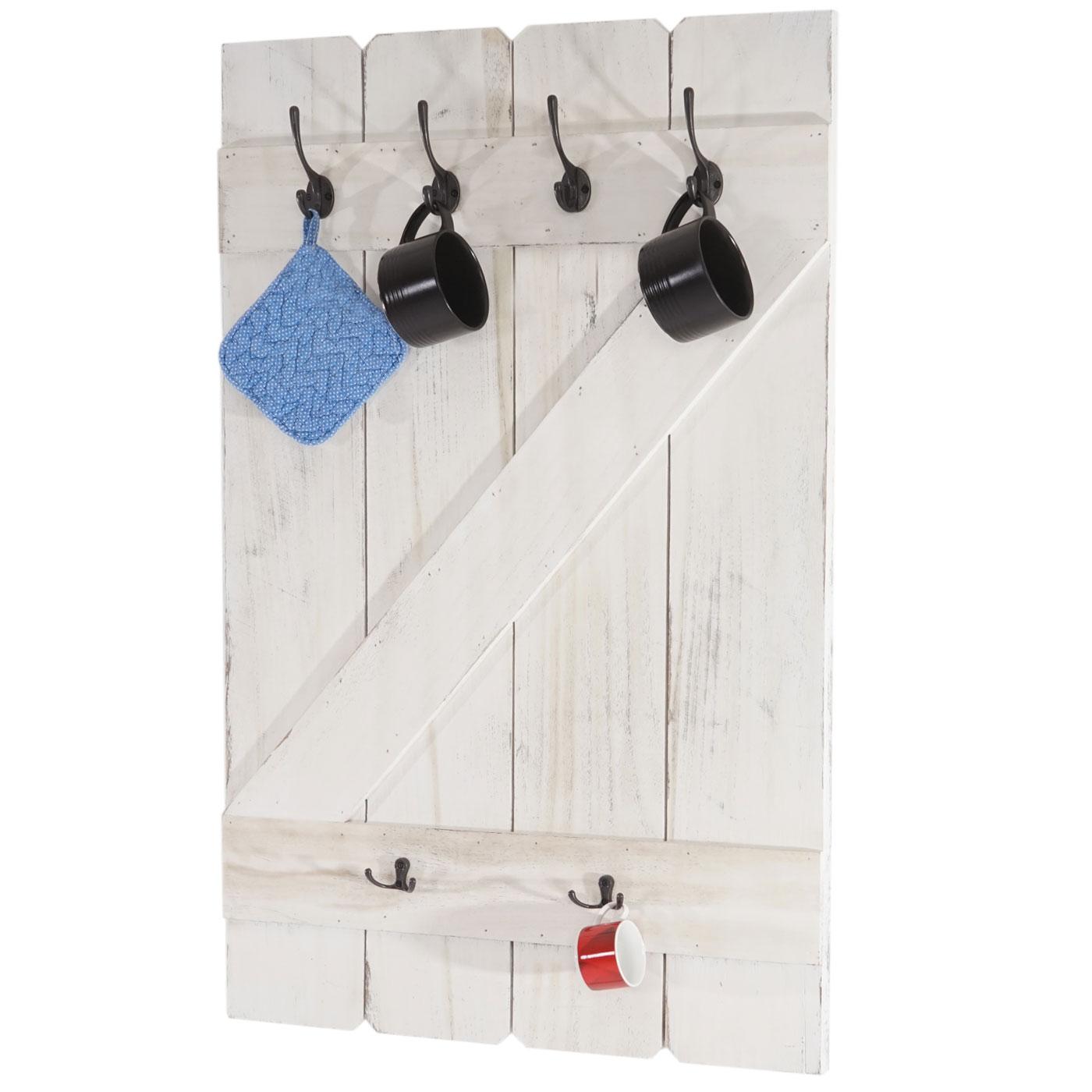 Hängeregal weiß haken  Aprilia, Hängeregal Tassenbrett Wandboard, 6 Haken 91x60cm ~ weiß ...