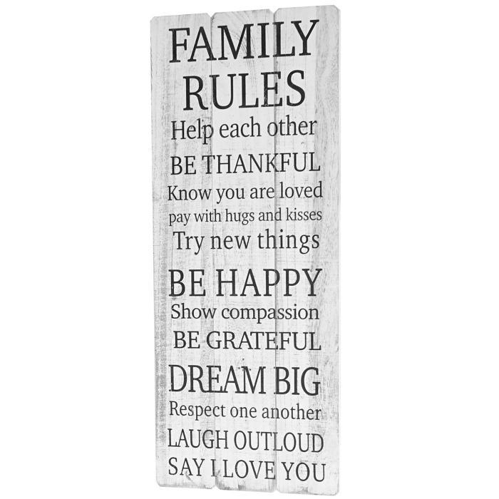 Holzschild Dekoschild Weihnachten Im Shabby Chic Von: Wandschild Family Rules, Holzschild Dekoschild, Shabby