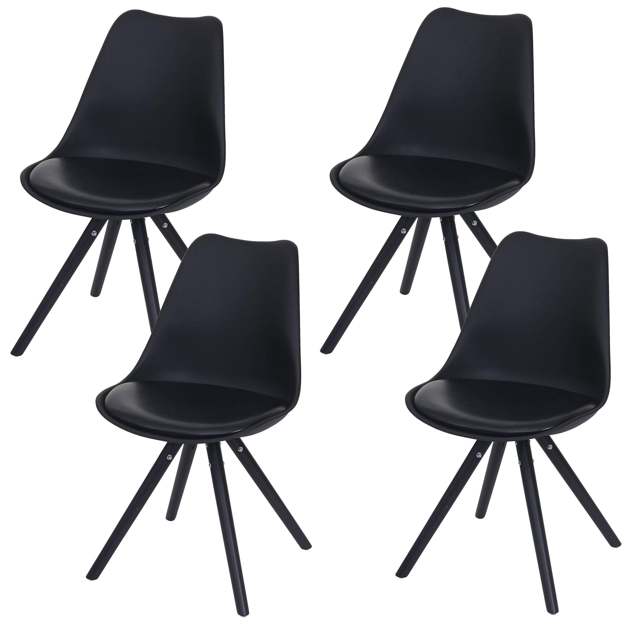4x esszimmerstuhl malm t501 retro design schwarz sitzfl che kunstleder schwarz dunkle beine - Retro esszimmerstuhl ...