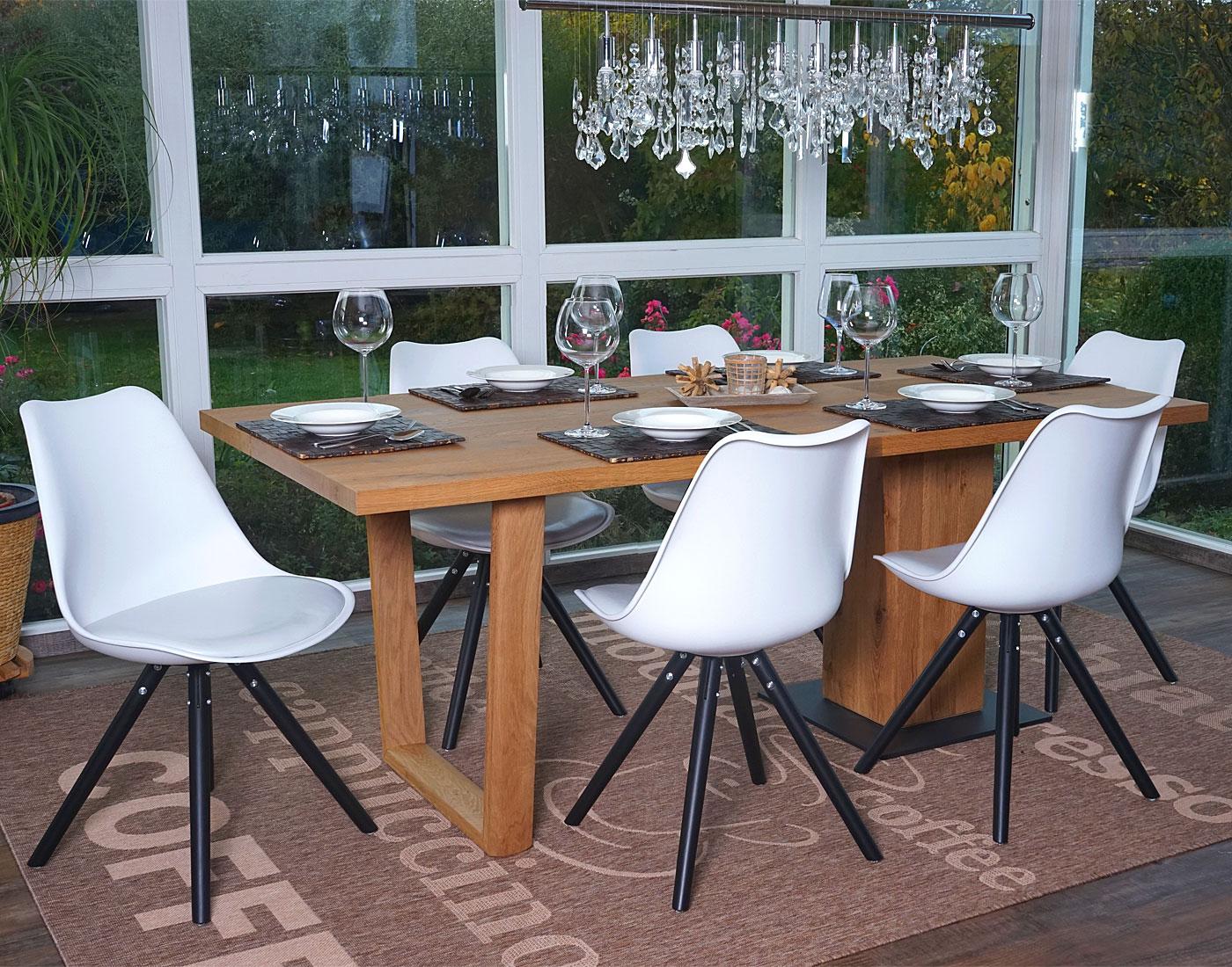 6x esszimmerstuhl malm t501 retro design wei sitzfl che kunstleder wei dunkle beine. Black Bedroom Furniture Sets. Home Design Ideas
