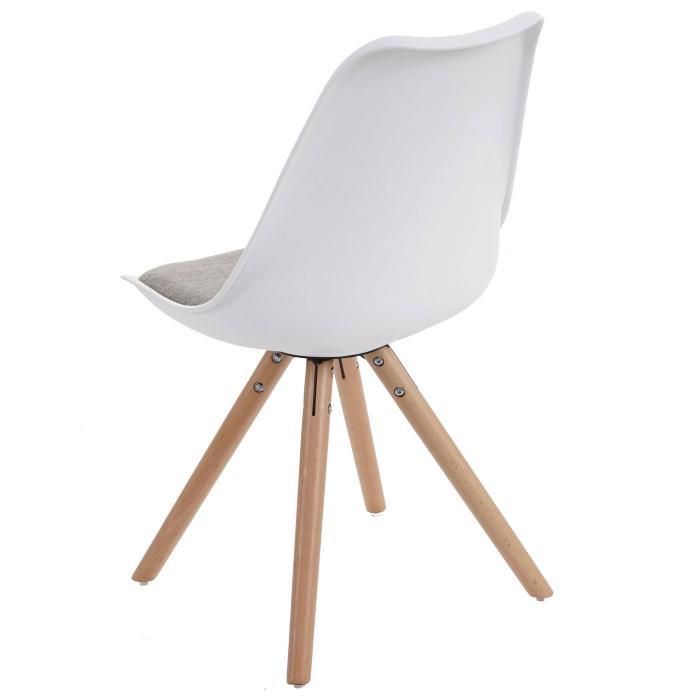 6x Esszimmerstuhl Malmö T501, Retro Design ~ weiß, Sitzfläche Textil ...