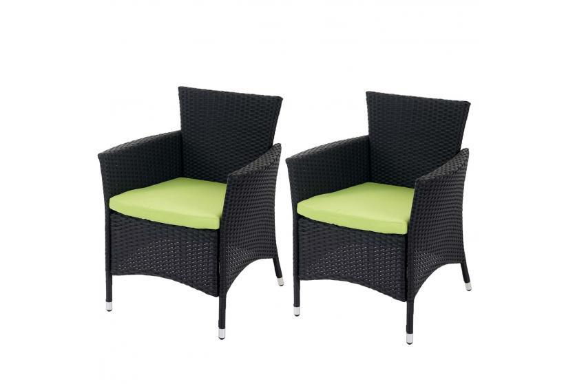 2x poly rattan gartensessel rom basic korbsessel anthrazit kissen gr n. Black Bedroom Furniture Sets. Home Design Ideas