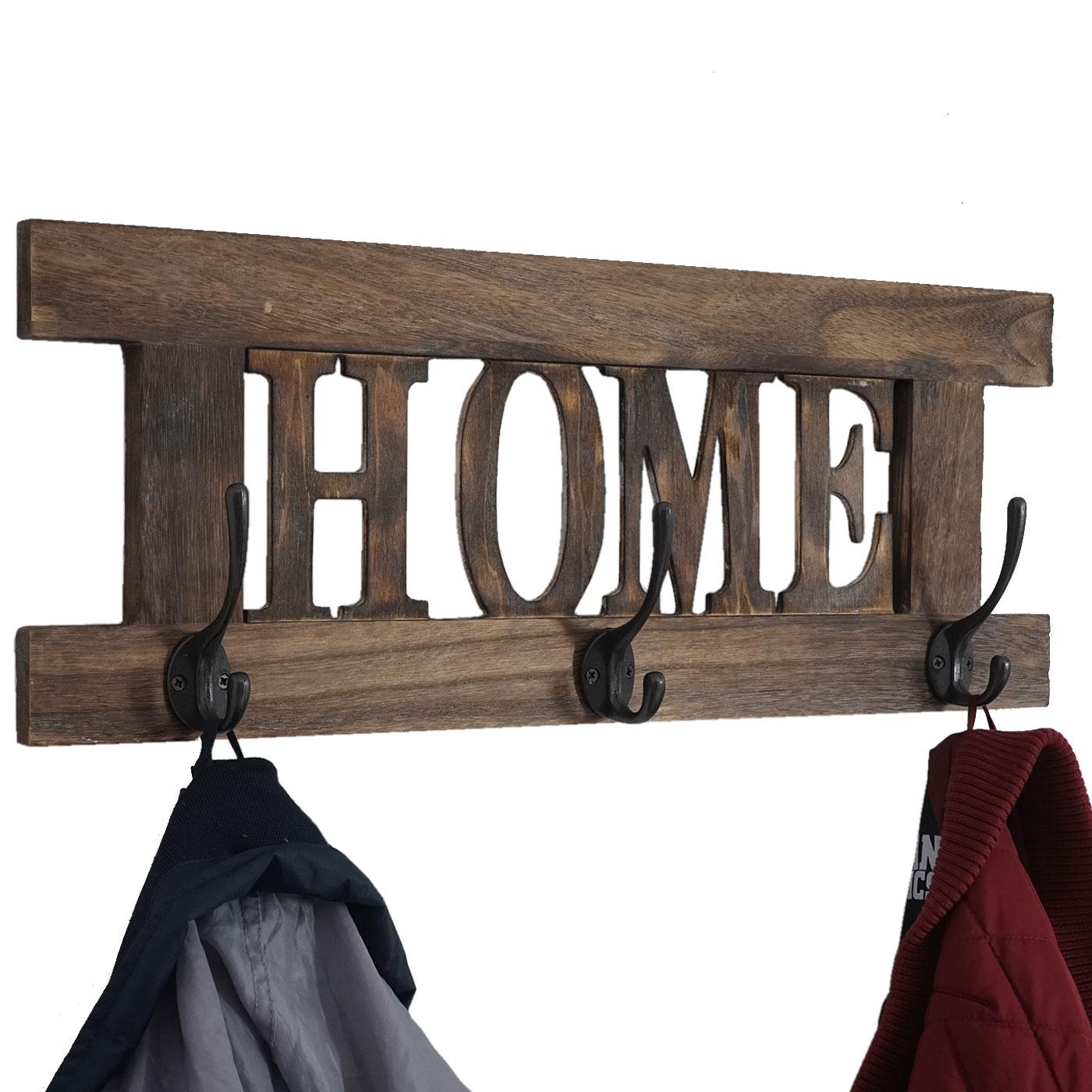 wandgarderobe home garderobe garderobenpaneel shabby look vintage 55x20cm braun. Black Bedroom Furniture Sets. Home Design Ideas