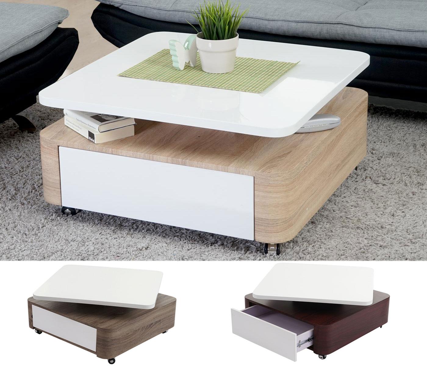 couchtisch sibiu wohnzimmertisch hochglanz drehbar 38x75x75cm ebay. Black Bedroom Furniture Sets. Home Design Ideas
